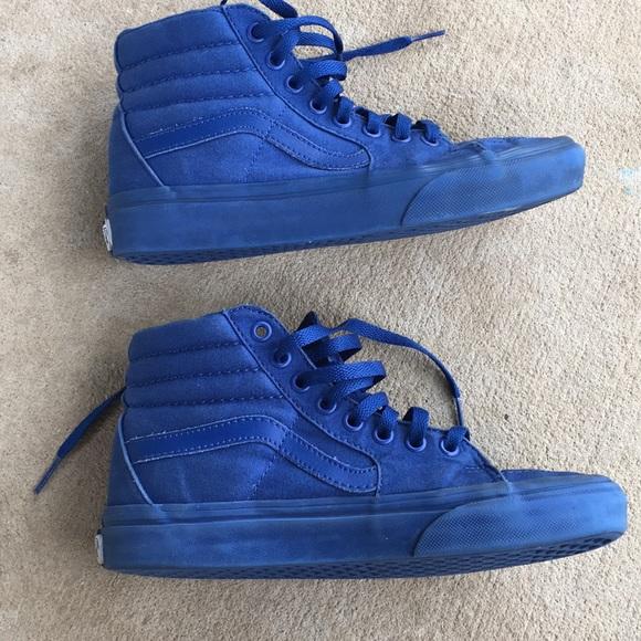 Solid Blue Vans High Top Slate Shoes